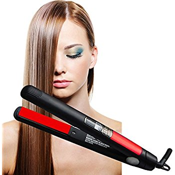 Multi-function Electric Hair Curler Steam Spray Hair Straightener Ceramic Electric Plywood Straight Hair Curler Dual-use and Dual Voltage (Black)