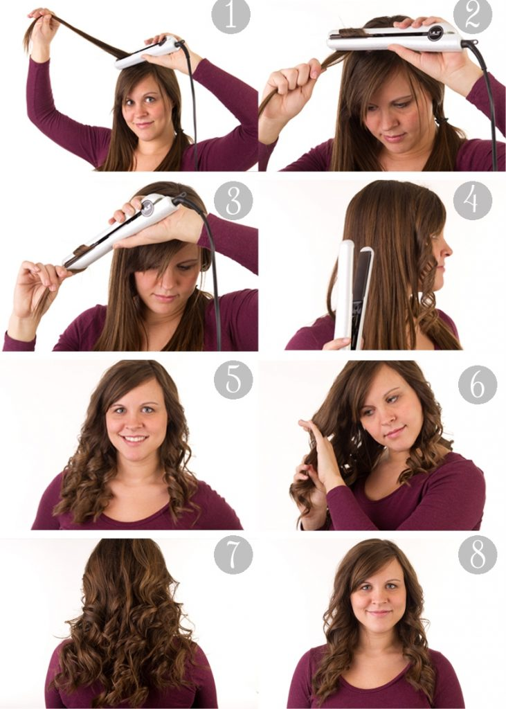 curls with straightening iron